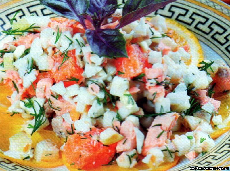 Рецепты салатов с копченой красной рыбой с